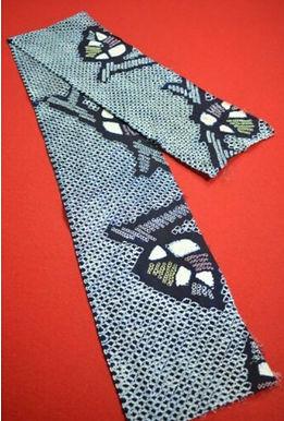 17 Japanese vintage kimono Boro fabric cotton 133x17cm