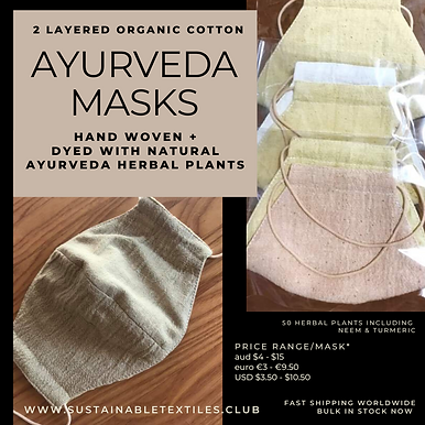 2 layer AYURVASTRA MASKS. 1000x 3colours. aud$5 each.