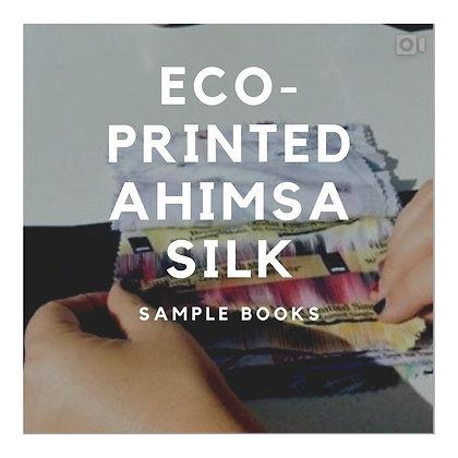 4x AHIMSA SILK Eco-Printed. Mills 2. Broken Satin & Plain Weaves