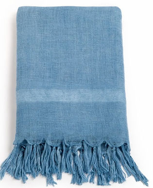 Handloom Linen Scarf. LIGHT INDIGO; Hand Dyed w.Plant Dyes