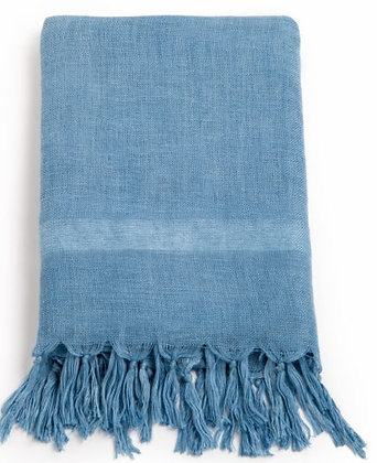 Handloom Linen Scarf. LIGHT INDIGO; Hand Dyed w.Plant Dyes