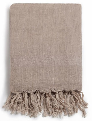 Handloom Linen Scarf. JAGGERY BEIGE; Hand Dyed w.Plant Dyes