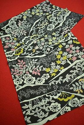 1. Japanese vintage kimono Boro fabric silk 100x36cm