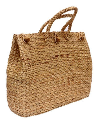 #5 Water Hyacinth Bag. Natural. Large with lining and buttons