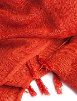 Handloom Linen Scarf. RED MADDER; Hand Dyed w.Plant Dyes