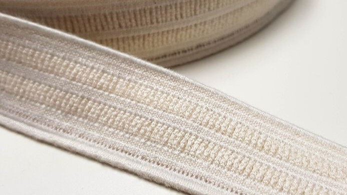 Natural Rubber Elastic with Organic Cotton. 25mm