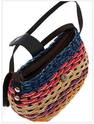 #7 Water Hyacinth Bag. Multi Coloured. Medium with lining and zipper & strap