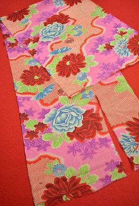 2 Japanese vintage kimono Boro fabric wool 127.x33cm