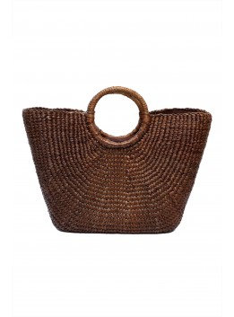 #3 Water Hyacinth Bag. Chocolate. Tub shape. Large with insert & zip