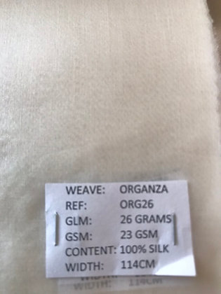 100% Peace Silk. Organza. WHITE. S5.ORG26