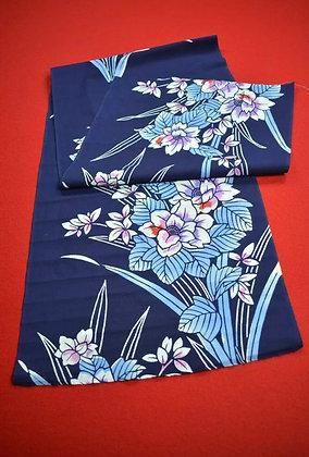 4 Japanese vintage kimono Boro fabric cotton - 134x36cm