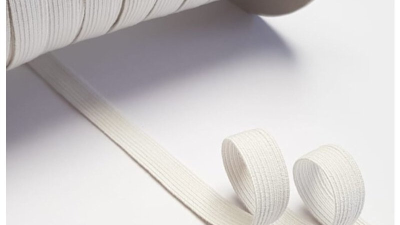 Natural Rubber Elastic with Organic Cotton. 10mm