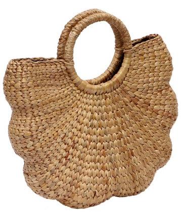 #1 Water Hyacinth Bag. Natural. Shell shape
