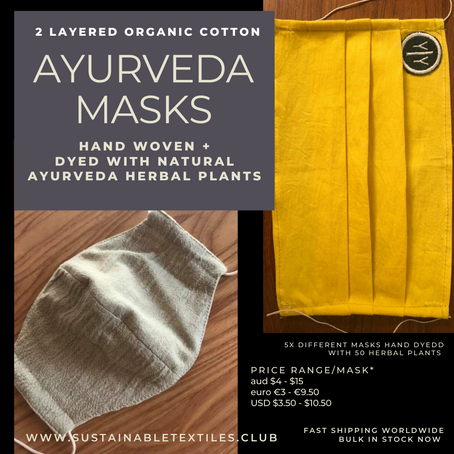 Handwoven organic cotton face masks dyed with natural plants ready for wear.
