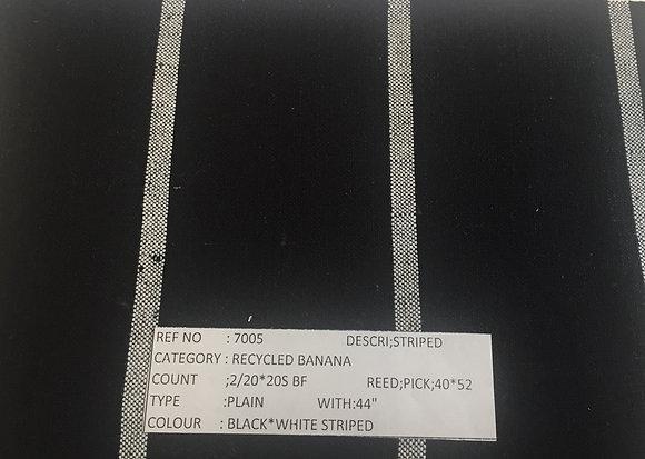 Organic Cotton & BANANA. #3. BLACK w. WHITE STRIPES