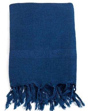 Handloom Linen Scarf. DARK INDIGO; Hand Dyed w.Plant Dyes