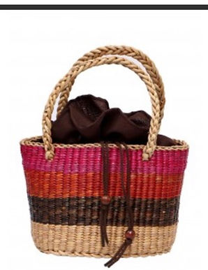 #9 Water Hyacinth Bag. Multi Coloured. Medium with lining and zipper &am