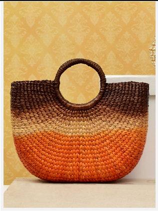 #6 Water Hyacinth Bag. Multi coloured. Tub shape
