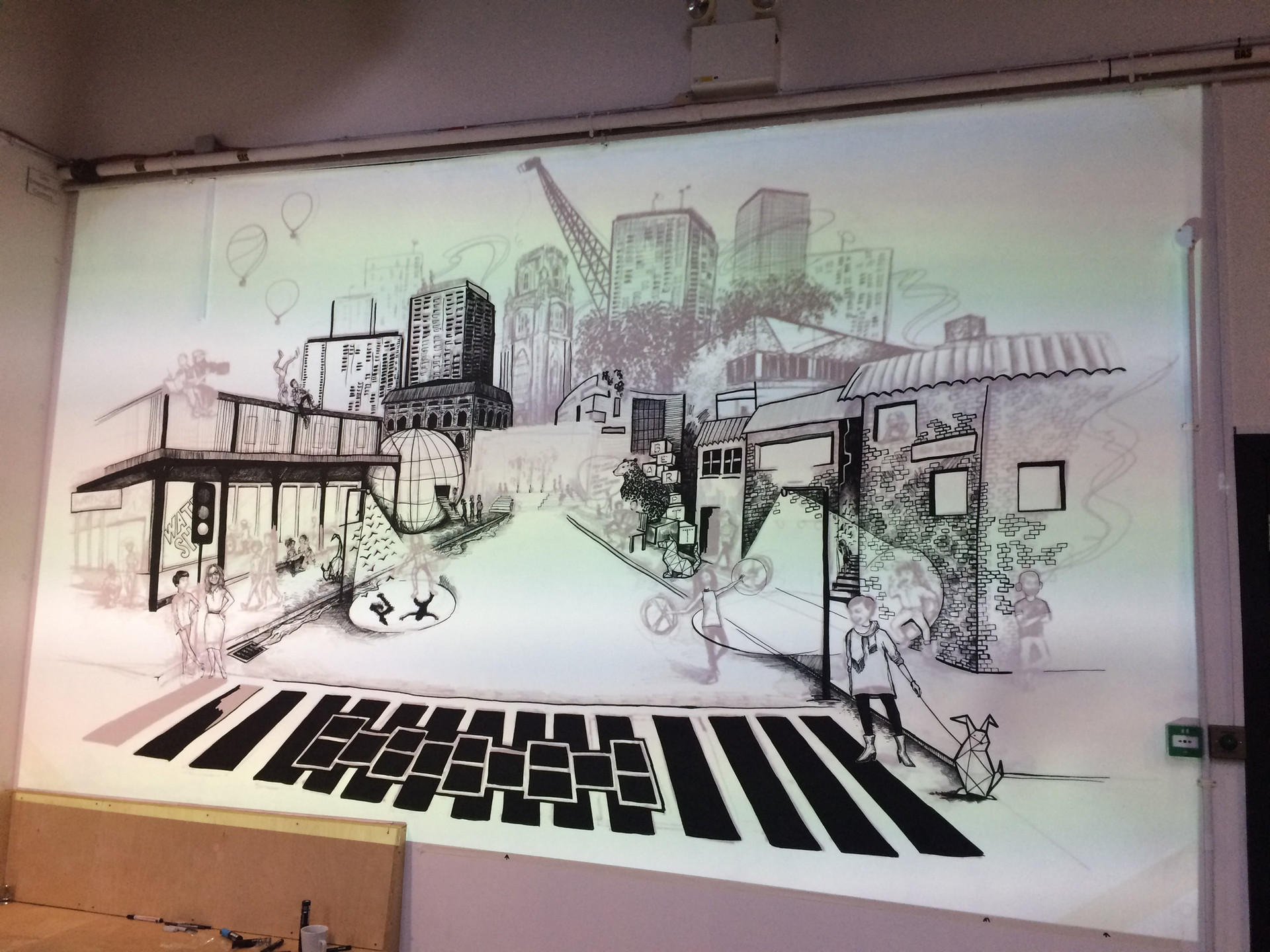 Wall 1- Progress shot with projection