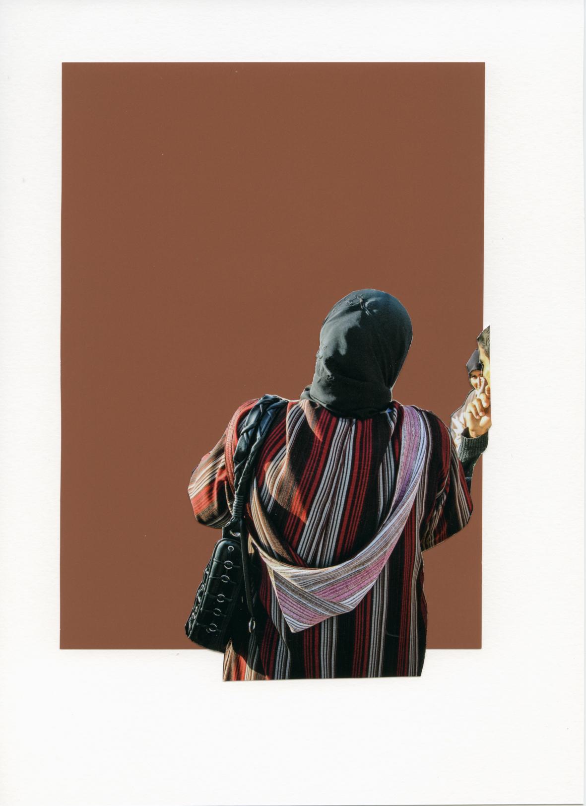 Foulard Noir sur Imprimé Rayé