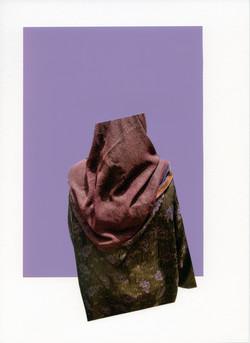 Foulard Prûne sur Imprimé Vert et Mauve