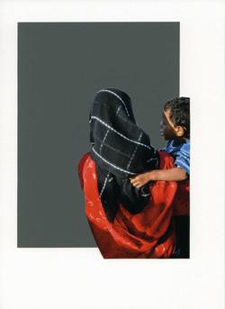 Foulard Noir Imprimé sur Rouge