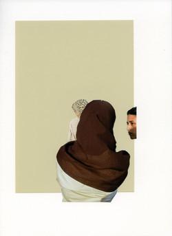 Foulard brun sur ivoire