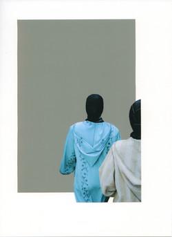 Foulards noirs sur turquoise et gris