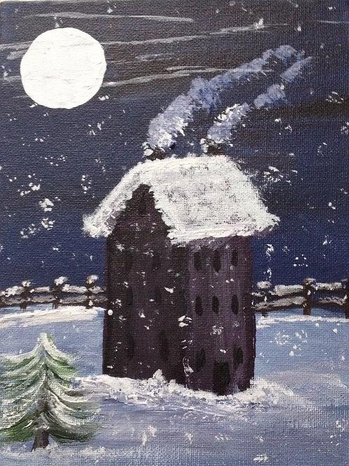 Snowy Night Painting