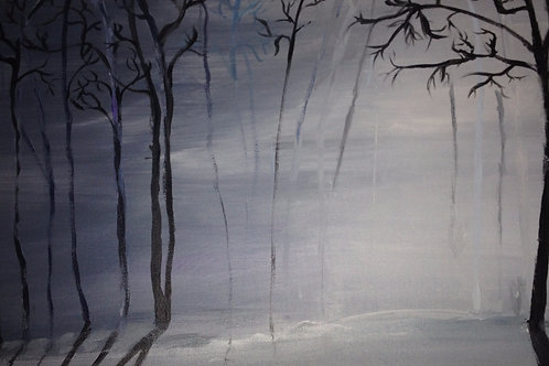 Foggy Snowy Forest Painting
