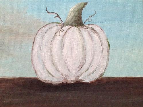 White Pumpkin Fall Autumn Painting
