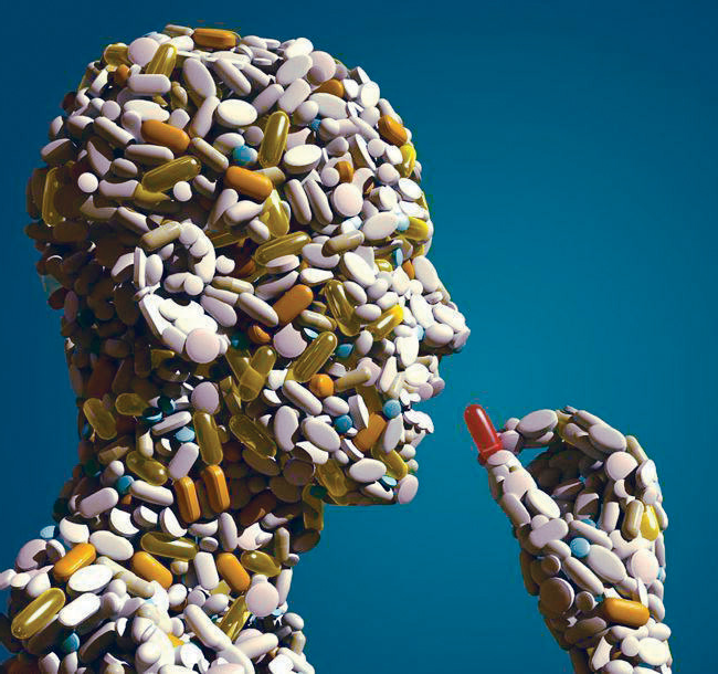 An image of a silhouette of a man made out of pills. Taken from: