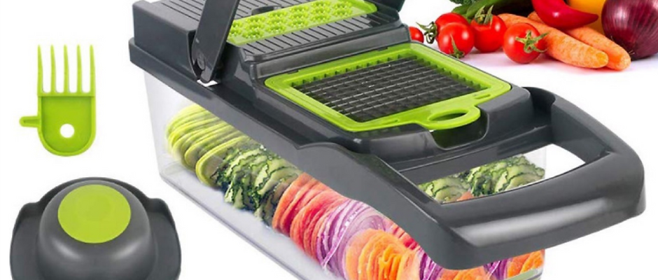 StorageMate Vegetable Chopper Mandoline Slicer - 12 in 1 Food Chopper - 8 Interc