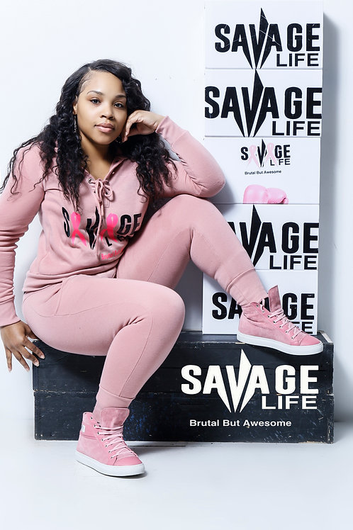 Limited Edition Pink Savage Life Breast Cancer Jogging suit