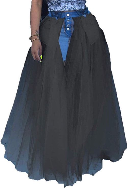 Inside out denim tulle skirt