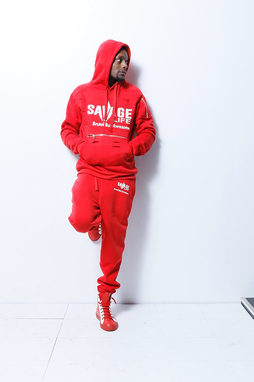 Men Red savage life jogging suit