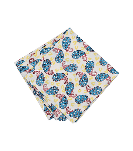 4x Block Print Cotton Napkins - Baby Peacock