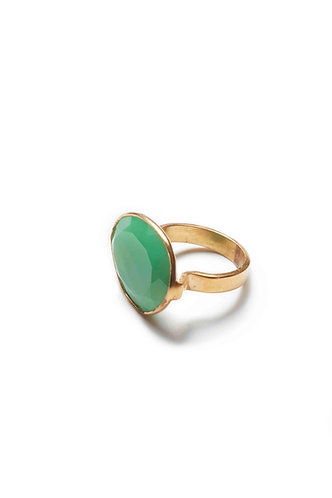 Large Stone, Gold Ring - Green