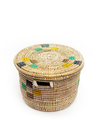 Round Grass Hand Woven Storage Basket - Multi