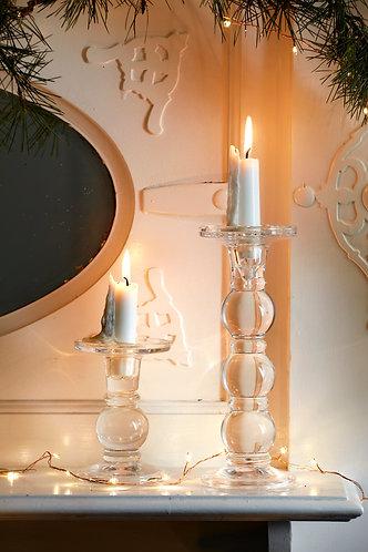 Clear Glass Ball Candlestick, tall