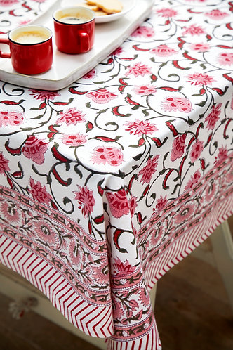 Pink Flowery Tablecloth