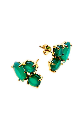 3 Stone Gold Stud Earring - Green