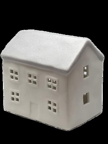Ceramic House, LED Tea Light - Grey