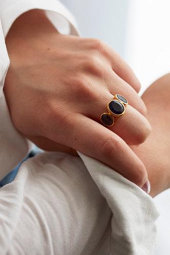 3 Stone Gold Ring - Aubergine