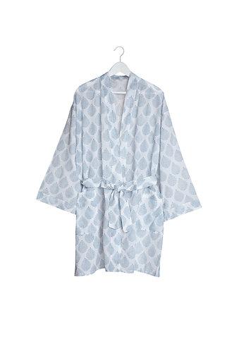 Short Kimono with Blue Leaf Desin