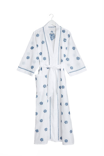 Kimono Flower Design White with Deep Blue Embroidery