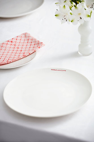 White Porcelain Dinner Plate - 'Cooked With Love'