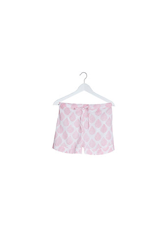 Pink Leaf Design Pyjama Shorts