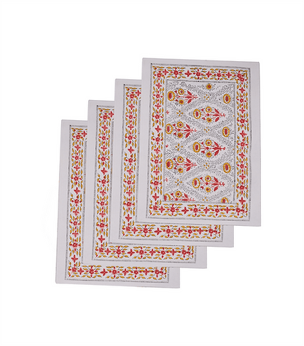 x4 Cotton Block Print Placemats. Reversible - Daisy