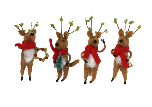 Wool Mix Deer with Red Scarf